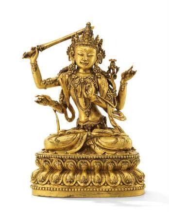 明宣德 御製鎏金銅四臂文殊菩薩坐像 「大明宣德年施」楷書刻款