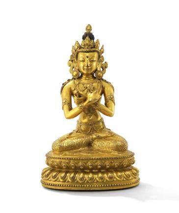 十五世紀  鎏金銅金剛總持坐像