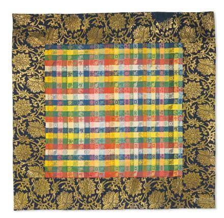 清十八世紀  織錦八吉祥雜寶紋佛壇供桌圍