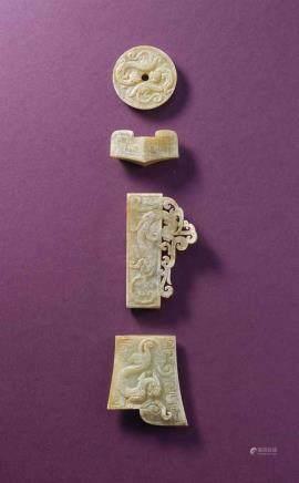 西漢  玉螭龍紋劍飾一套三件及玉勾雲紋劍格一件