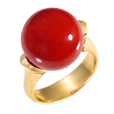 14.4 mm 紅珊瑚 黃金戒指