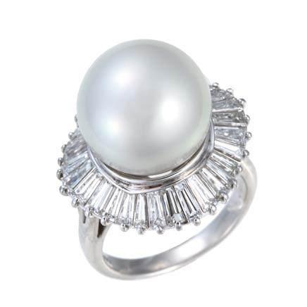 15.4 mm 南洋珍珠 鑽石 鉑金戒指