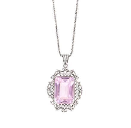 31.55 ct 紫鋰輝石 鑽石 鉑金項鍊