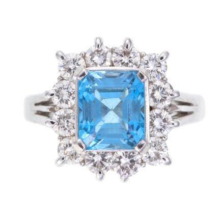 1.91 ct 海藍寶石 鑽石 鉑金戒指