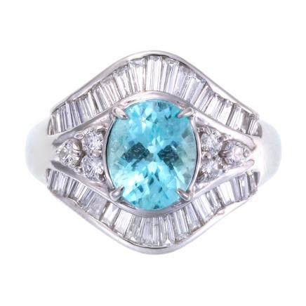 1.954 ct 帕拉依巴碧璽 鑽石 鉑金戒指