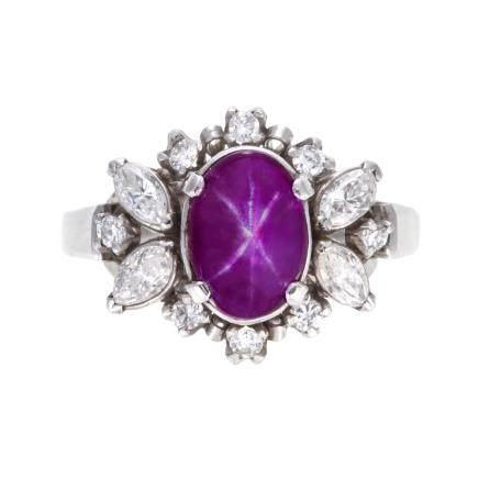 3.23 ct 斯里蘭卡產 星光紅寶石 鑽石 鉑金戒指 (非加熱)