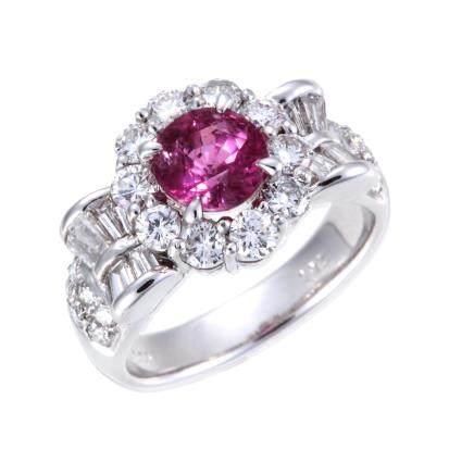 1.686 ct 紅寶石 鑽石 鉑金戒指