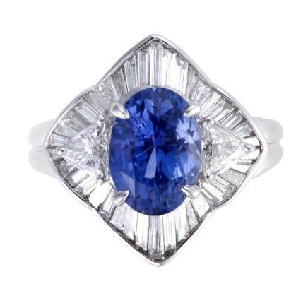 3.84 ct 藍寶石 鑽石 鉑金戒指 (非加熱)