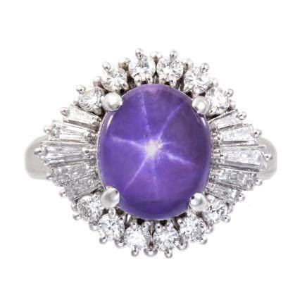 6.11 ct 斯里蘭卡產 紫色星光藍寶石 鑽石 鉑金戒指 (非加熱)