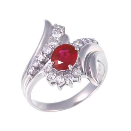 1.09 ct 緬甸產 紅寶石 鑽石 鉑金戒指