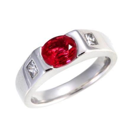 1.04 CT 緬甸產 鴿血紅紅寶石 鑽石 鉑金戒指