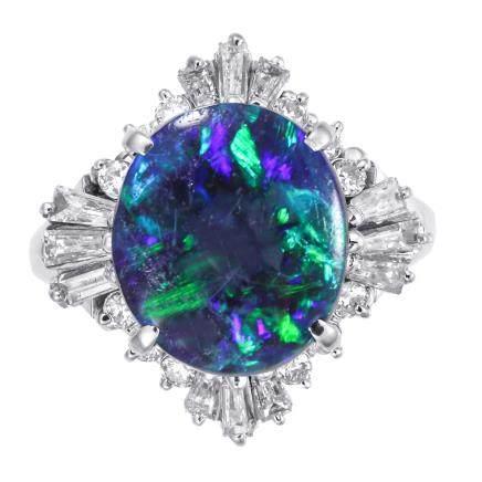 3.49 ct 黑色蛋白石 鑽石 鉑金戒指