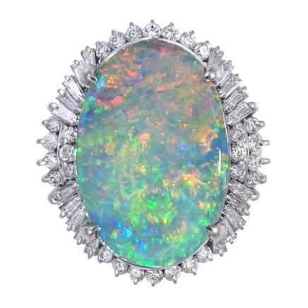13.36 ct 黑色蛋白石 鑽石 鉑金戒指
