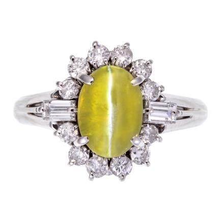 1.73 ct  貓眼金綠石 鑽石 鉑金戒指