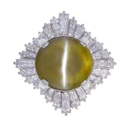 10.74 ct 貓眼金綠石 鑽石 鉑金戒指