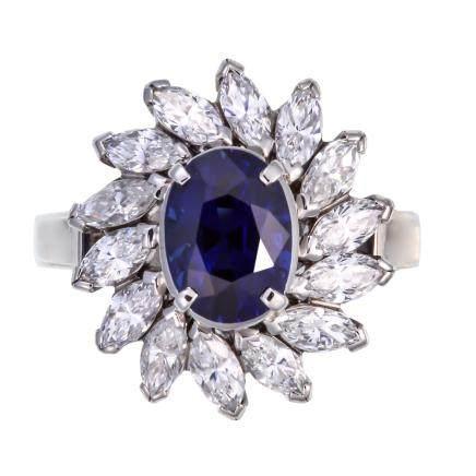 1.679 ct 皇家藍藍寶石 鑽石 鉑金戒指 (非加熱)