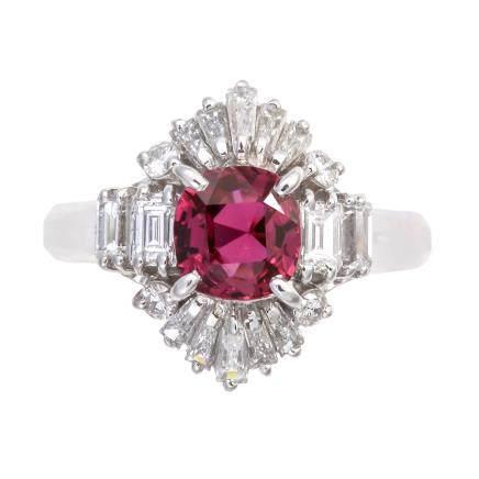 1.05 ct 紫色藍寶石 鑽石 鉑金戒指