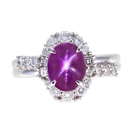 2.51 ct 紫紅色 星光藍寶石 鑽石 鉑金戒指 (非加熱)