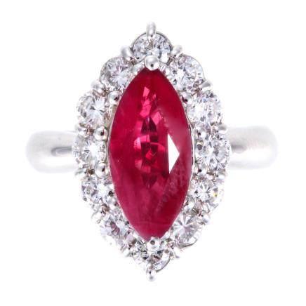 3.28 ct 紅寶石 鑽石 鉑金戒指