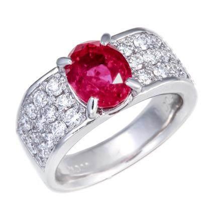 2.74 ct 緬甸產 紅寶石 鑽石 鉑金戒指 (非加熱)