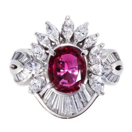 1.94 ct 紅寶石 鑽石 鉑金戒指