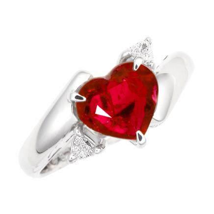 1.481 ct 莫桑比克產 紅寶石 鑽石 鉑金戒指(非加熱)