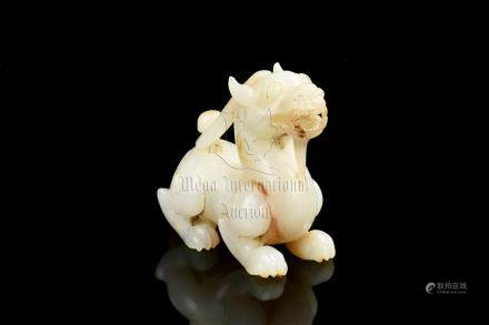 JADE CARVED 'MYTHICAL BEAST' FIGURE