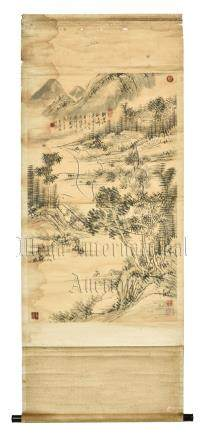 HUANG BINHONG: INK ON PAPER PAINTING 'MOUNTAIN SCENERY'