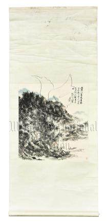 HUANG BINHONG: INK AND COLOR ON PAPER PAINTING 'MOUNTAIN SCENERY'
