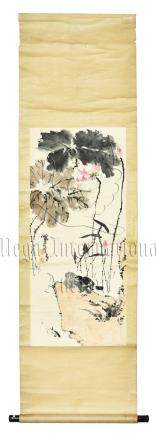 PAN TIANSHOU: INK AND COLOR ON PAPER PAINTING 'LOTUS FLOWERS'
