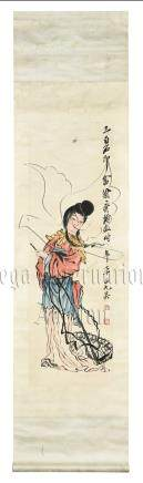 QI BAISHI: INK AND COLOR ON PAPER PAINTING 'LADY'