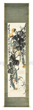 QI BAISHI: INK AND COLOR ON PAPER PAINTING 'VEGETABLES'