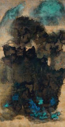 張大千  雲山古寺 設色金箋 鏡框 一九六五年作