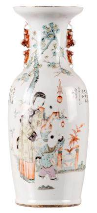A Chinese vase, one side polychrome decorated with an animated scene, one side iron red decorated with a Fu lion, signed, 19thC, H 57 cm