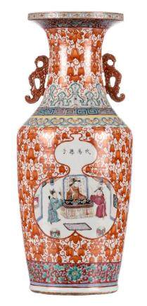 A Chinese iron red and famille rose floral decorated vase, the roundels with a court and garden scene, 19thC, H 61,5 cm