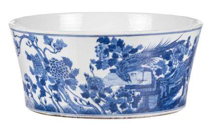 A large Chinese blue and white bowl, decorated with phoenix and flower branches, Kangxi, H 17,5 - Diameter 39 cm