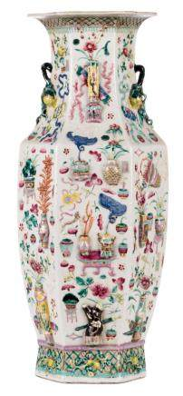 A Chinese famille rose hexagonal vase, relief decorated with 100 antiquities, 19thC, H 59 cm