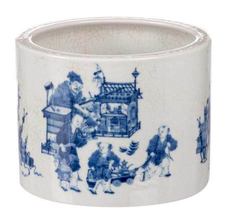 A Chinese blue and white brushpot, decorated with animated scenes, marked, 20thC, H 15 - Diameter 20 cm