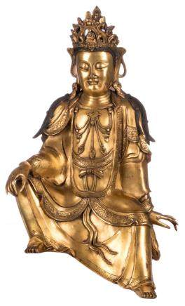 A Chinese gilt bronze seated Buddha, Qing-dynasty, H 25,5 cm