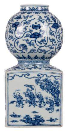 A rare Chinese blue and white vase, decorated with animated scenes and flowers, with a Wanli mark, H 37 cm