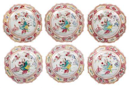 A set of six small Chinese famille rose dishes, depicting a sage and servant, Qianlong, Diameter 15 cm