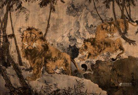A Chinese tapestry depicting lions in a landscape, textile heightened with watercolor and gouache, signed, late Qing period, 149 x 215 cm (damage)
