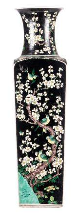 A rare Chinese quadrangular famille noire vase, decorated with birds on flower branches, marked, 19thC, H 80 cm
