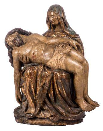 A polychrome painted wooden Pieta, probably central-Europe, 17thC, H 101 cm