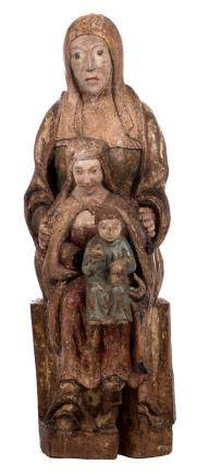 Saint Anne, with the Virgin and Child, polychrome painted oak, probably 14th - 15thC, H 87 cm
