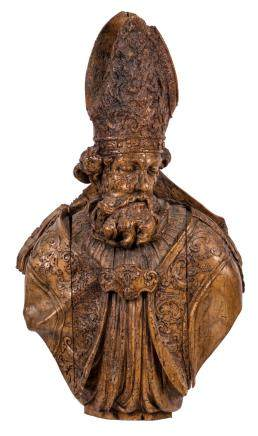 A bust of a bishop, walnut, 17th/18thC, H 107 cm