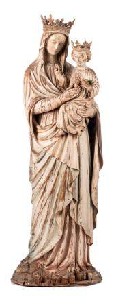 Atelier Bressers-Blanchaert, Madonna, dated 1891, Gothic Revival, wood with traces of polychrome paint, H 125 cm