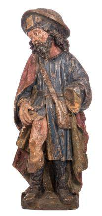 Saint Rochus, polychrome painted pine, probably German, 16thC, H 100 cm