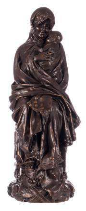 Lefebvre, mother and child, gypse statue with a bronze patina, ca. 1900, H 70 cm