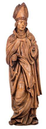 A statue of a Bishop, some traces op polychrome paint, probably Flemish, 17thC, H 140 cm